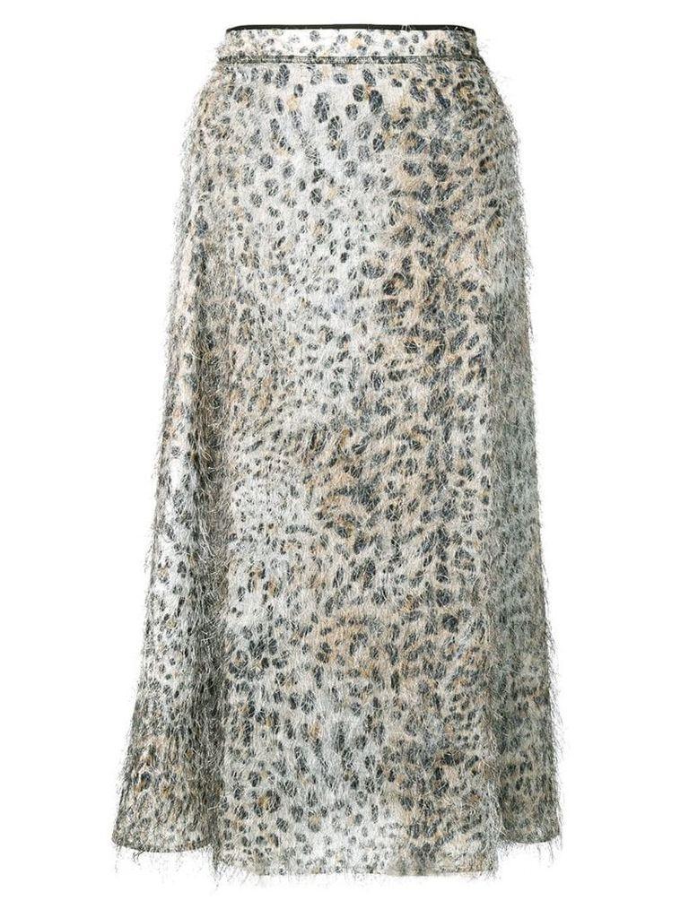 McQ Alexander McQueen leopard flared midi skirt - Neutrals