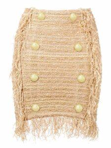 Balmain fringed tweed mini skirt - Gold