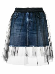 Dondup short denim skirt with tulle cover - Blue