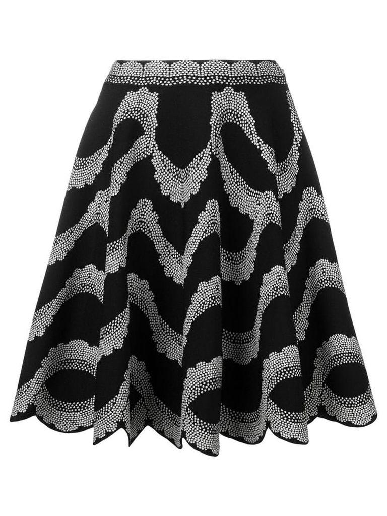 Alexander McQueen patterned scallop-edge skirt - Black