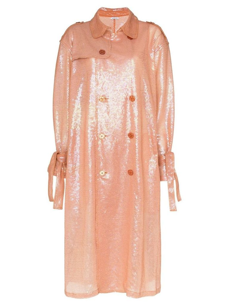 Ashish Belted sequin trench coat - Pink