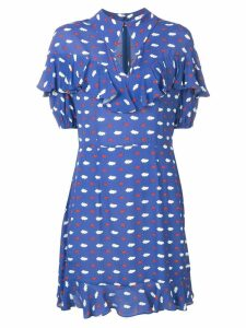 Vivetta clouds and lips print ruffle dress - Blue