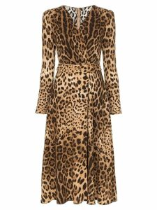 Dolce & Gabbana leopard print flared dress - Brown