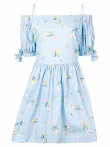 Vivetta off shoulder floral print dress - Blue