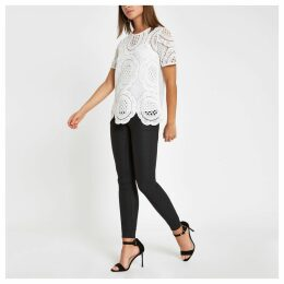 Womens White loose fit lace T-shirt