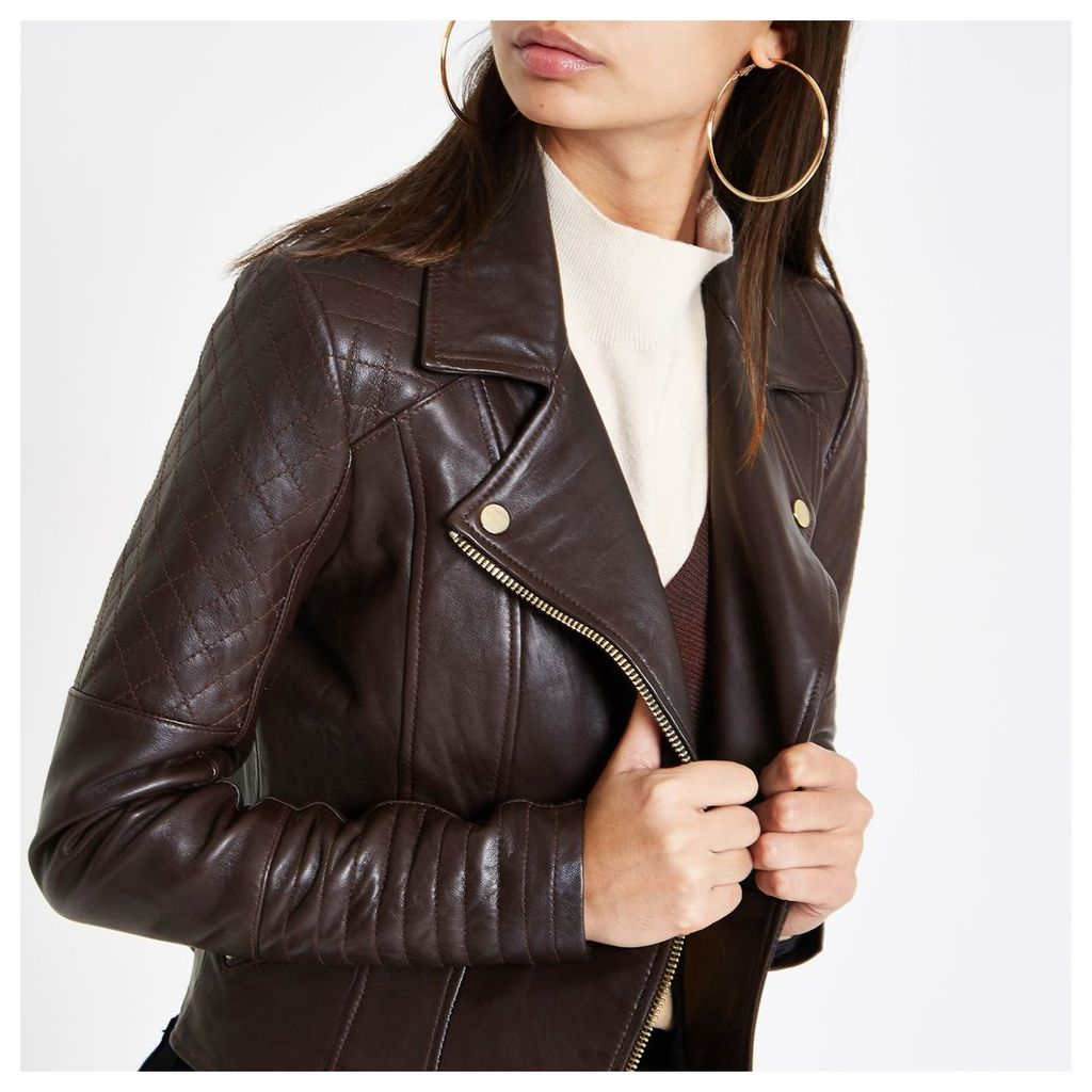 Womens Brown leather quilted biker jacket