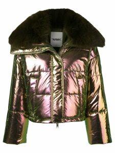 Yves Salomon Army fox fur trim padded jacket - Green