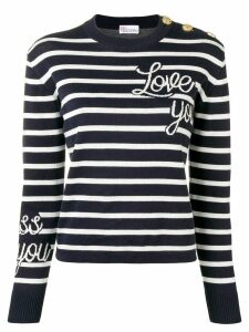 Red Valentino love you striped jumper - Blue