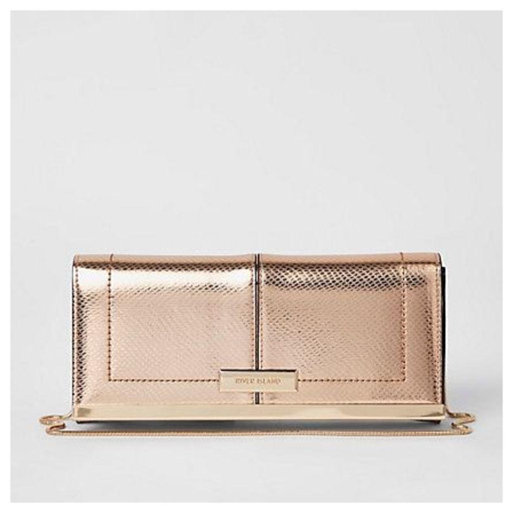 Womens Rose Gold baguette clutch bag