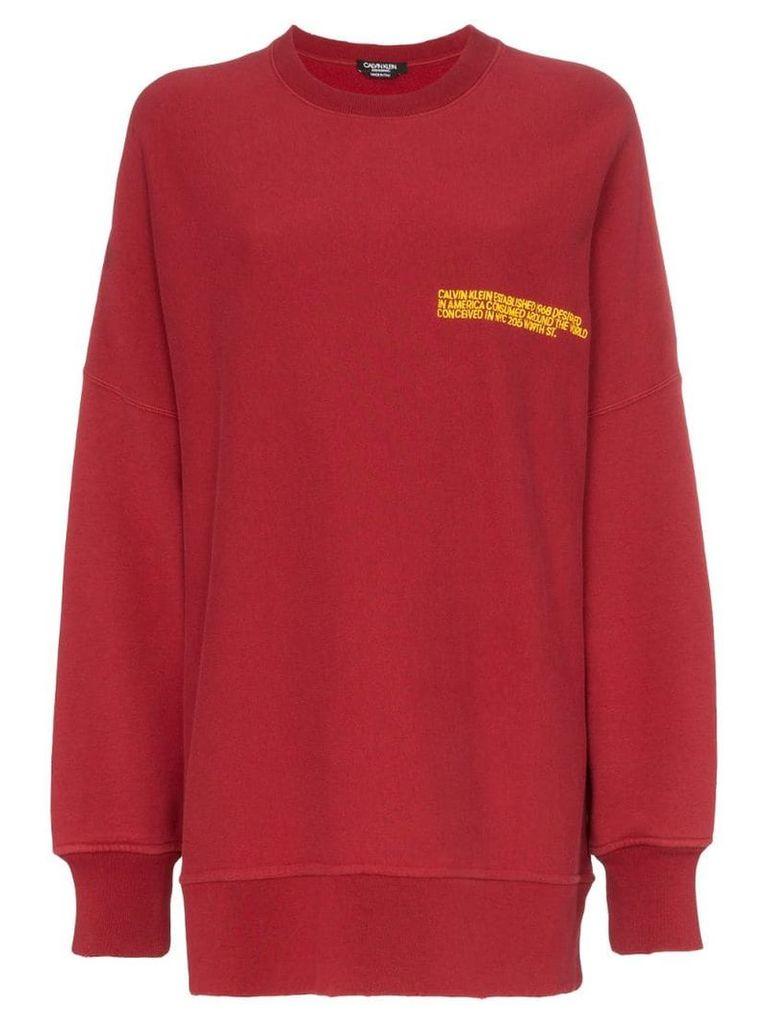Calvin Klein 205W39nyc logo print oversized cotton jumper - Red