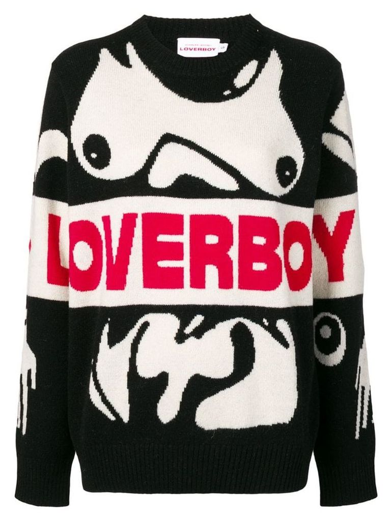 Charles Jeffrey Loverboy logo intarsia jumper - Black