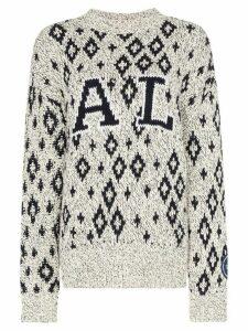 Calvin Klein 205W39nyc geometric print knitted jumper - White