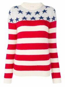Saint Laurent stars striped jumper - White