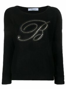 Blumarine logo knitted top - Black