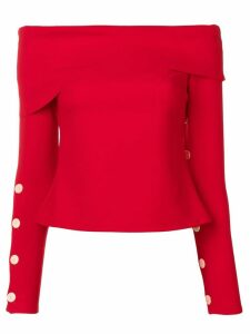 A.W.A.K.E. Mode off-shoulder button top - Red