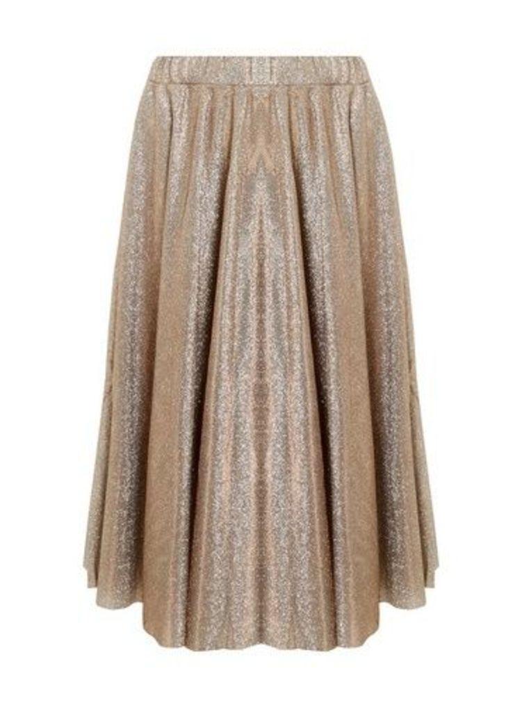 Womens **Vila Gold Shimmer Midi Skirt- Gold, Gold
