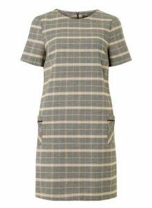 Womens Blush And Grey Check Print Shift Dress- Grey, Grey