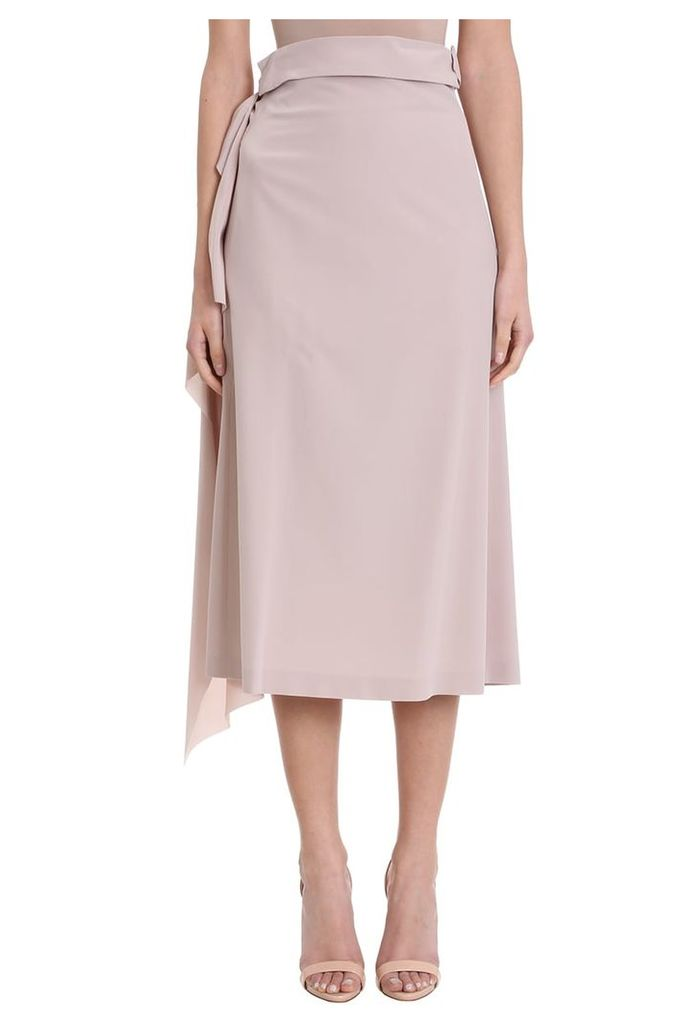 Maison Flaneur Asymmetric Powder Silk Skirt