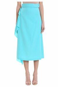 Maison Flaneur Asymmetric Light Blue Silk Skirt