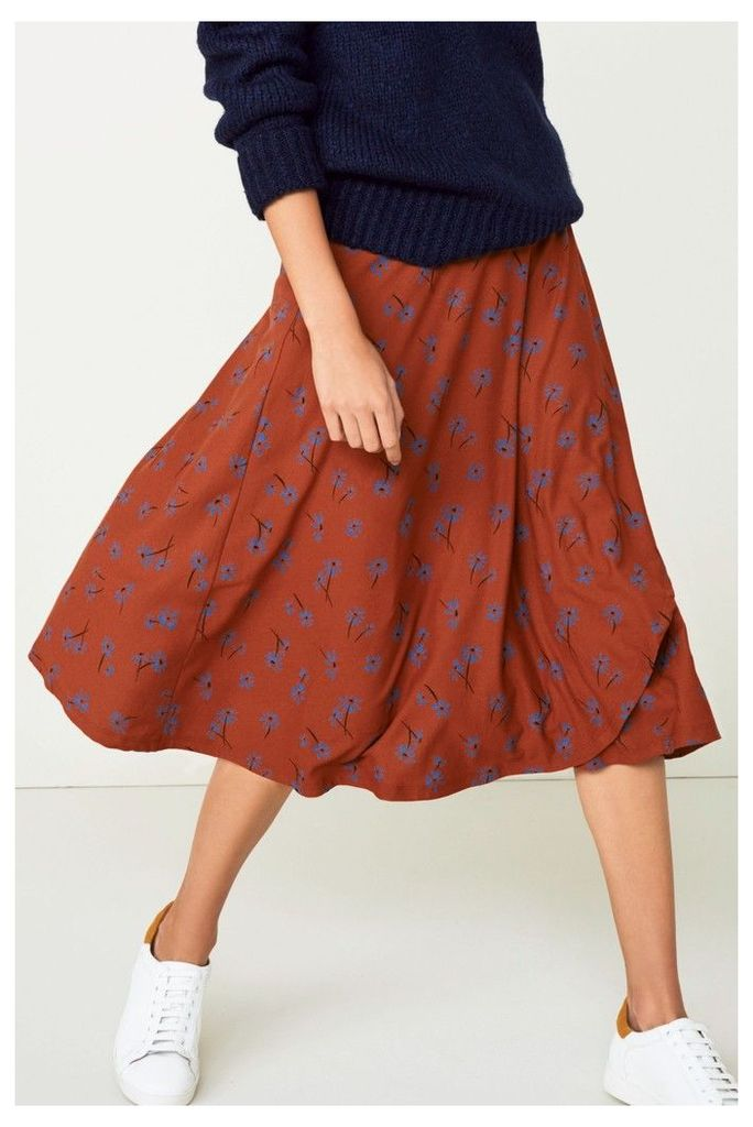 Womens Next Brown Floral Wrap Skirt -  Brown