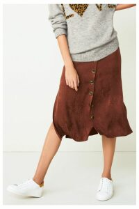 Womens Next Brown Jacquard Button Through Skirt -  Brown