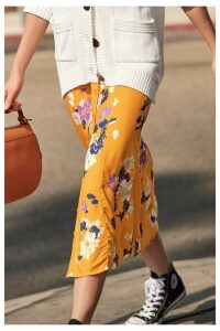 Womens Next Yellow Floral Button Through Skirt -  Yellow