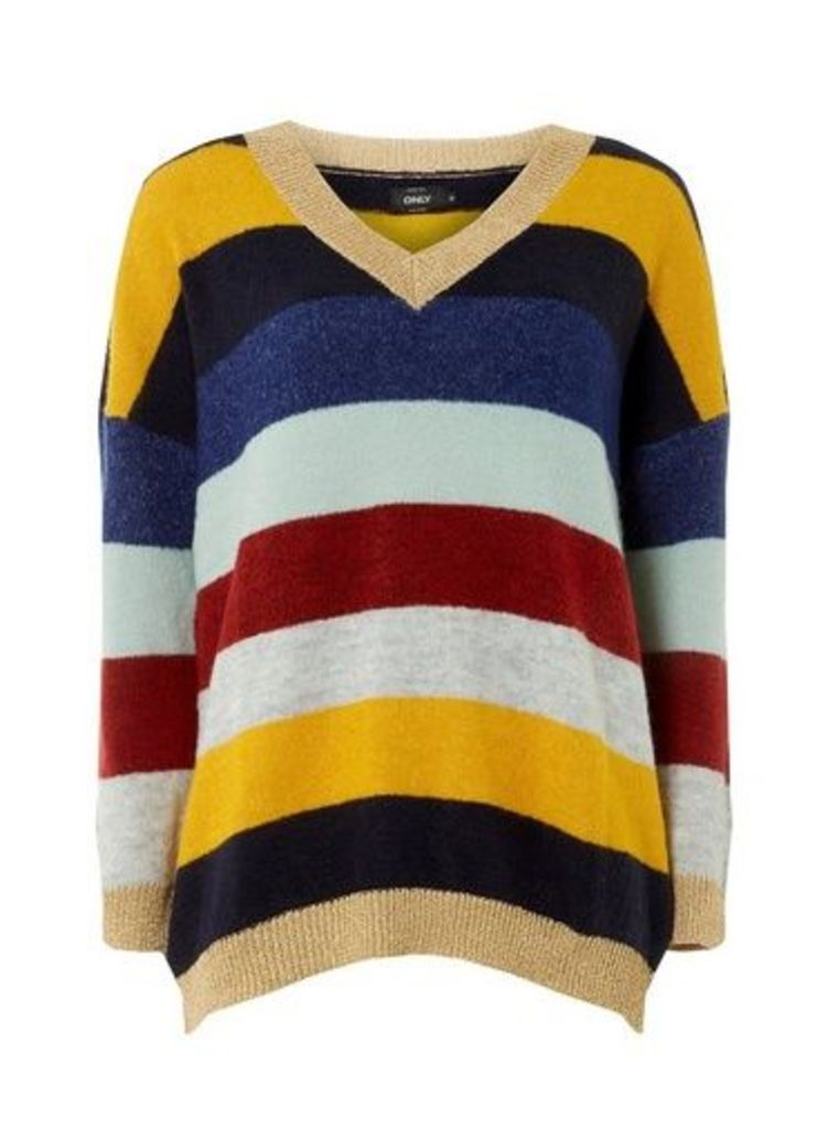 Womens **Only Multi Coloured Stripe Print V-Neck Jumper- Multi Colour, Multi Colour