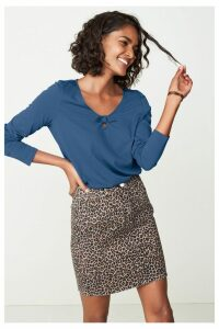 Womens Next Animal Print Co-ord Denim Skirt -  Animal