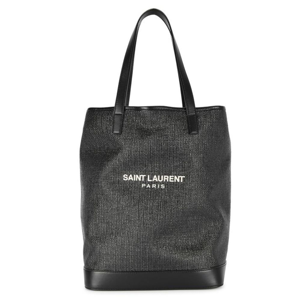 Saint Laurent Teddy Canvas And Leather Tote