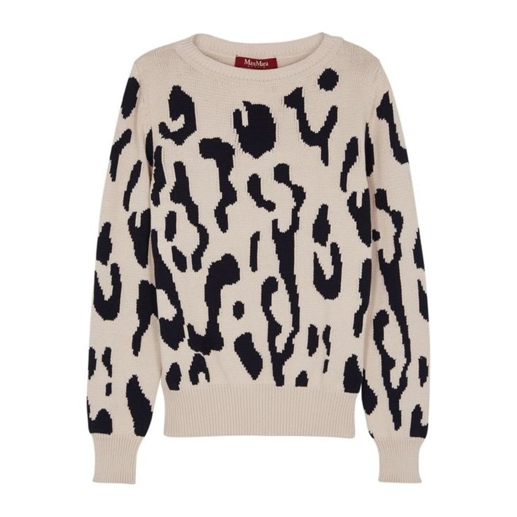 Max Mara Studio Albata Leopard-jacquard Cotton-blend Jumper