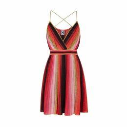 M Missoni Striped Metallic-knit Dress