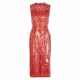 Christopher Kane Red Lace And PVC Midi Dress
