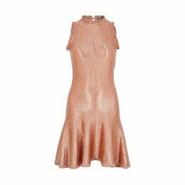 Alexander McQueen Rose Gold Metallic-knit Mini Dress