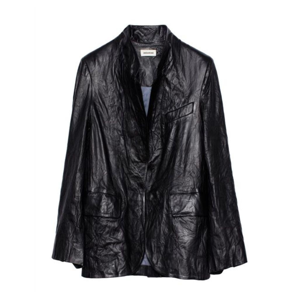 Zadig & Voltaire Crinkled Leather Jacket