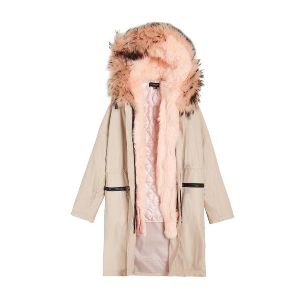 On Parle De Vous Detachable Fur Waxed Parka