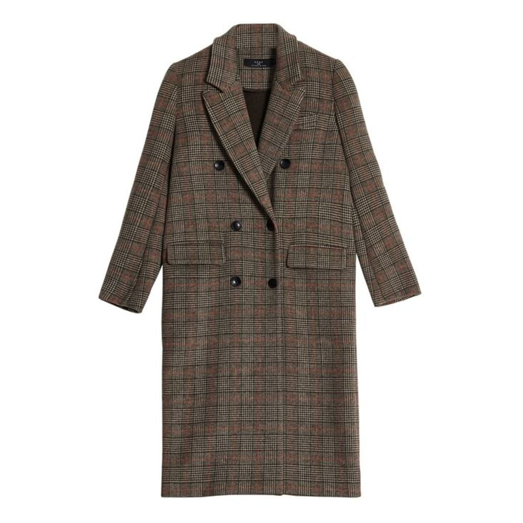 On Parle De Vous Prince Of Wales Printed Long Straight Coat