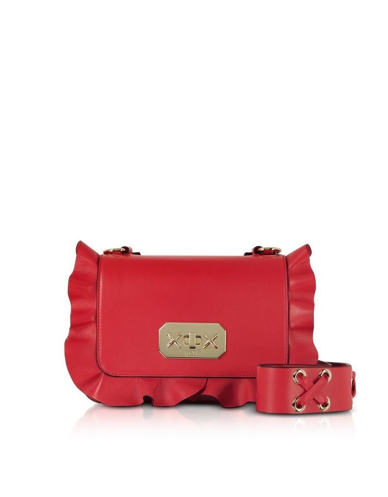 RED Valentino Designer Handbags, Flame Red Leather Ruffle Small Shoulder Bag