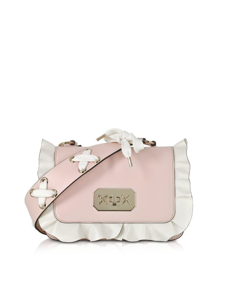 RED Valentino Designer Handbags, Two Tone Leather Small Ruffle Shoulder Bag