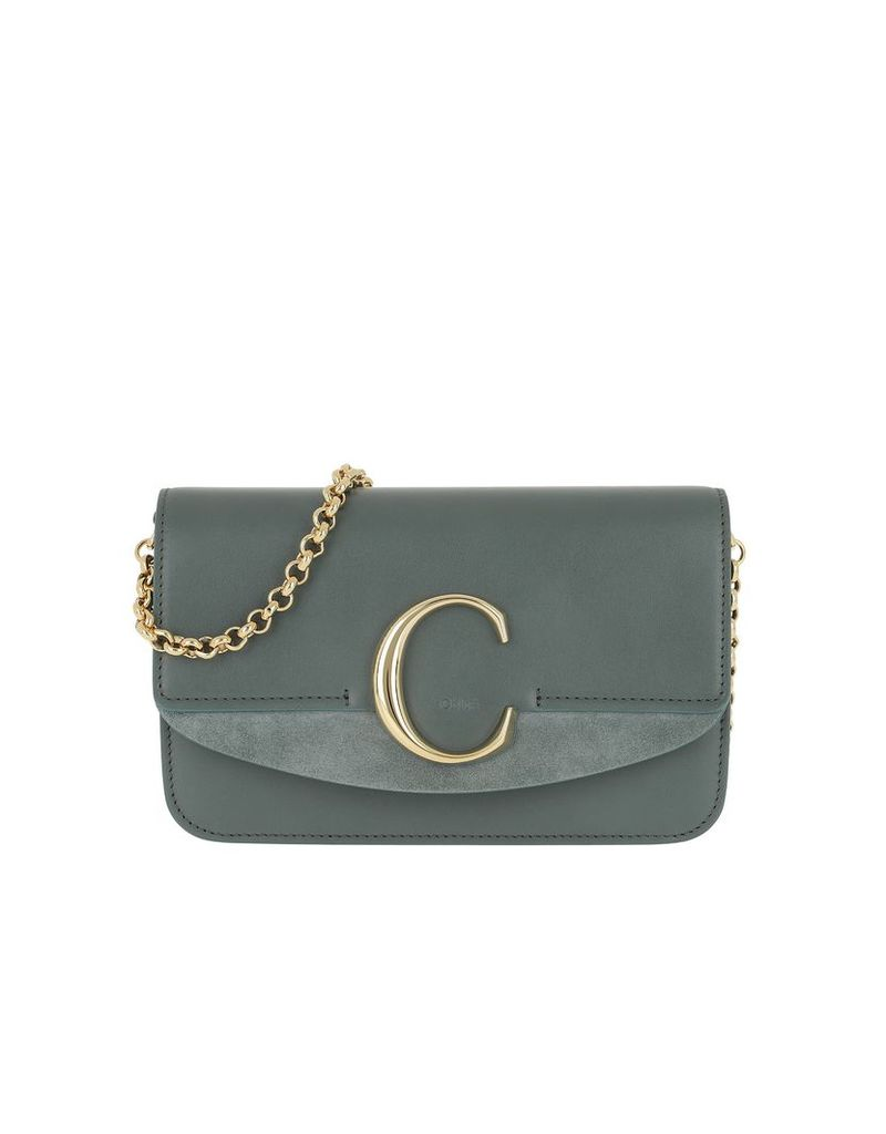Chloe Designer Handbags, C Clutch With Cahin Cloudy Blue