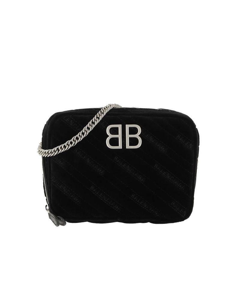 Balenciaga Designer Handbags, BB Camera Bag Leather Black