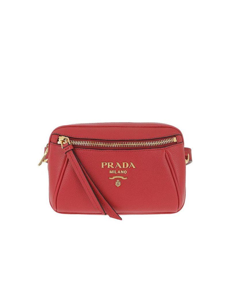 Prada Designer Handbags, Grained Leather Belt Bag Rosso