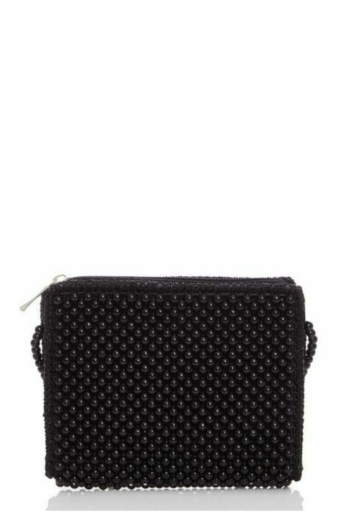 Quiz Black Beaded Bag
