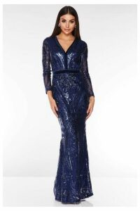 Quiz Navy Sequin Embellished Fishtail Maxi Dress
