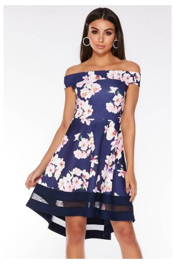 Quiz Navy Pink And Cream Floral Bardot Dip Hem Dress
