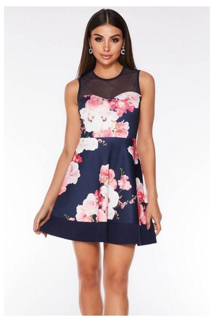 Quiz Navy and Pink Mesh Floral Skater Dress
