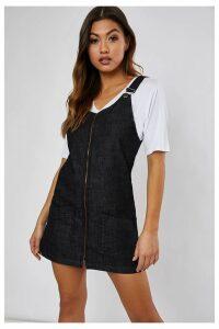 0d78b01bbd5 Black Dresses - Maklya Black Denim Zip Through Pinafore Dress