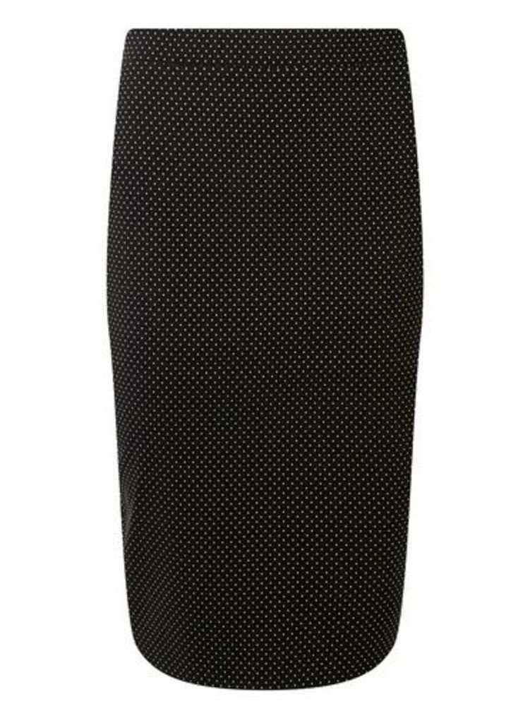 Womens Black Spotted Pencil Skirt- Black, Black