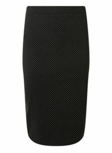 Womens Black Spotted Pencil Skirt- Black, Black