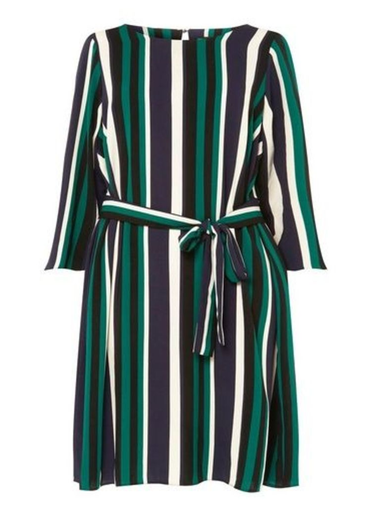 Womens **Dp Curve Multi Colour Striped Tie Waist Skater Dress- Green, Green