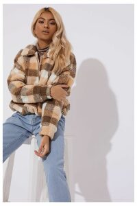 Brown Coats - Bronte Brown Check Teddy Fur Bomber Coat